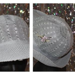 Accessories - 1980's Light Blue Net Fedora Sale Hat with Floral